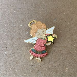 Angel Girl Holding Star 1999 Enamel Pin or Pendant